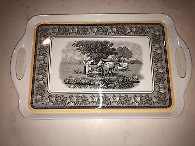 AUDUN FERME Villeroy & Boch  Melamine SERVING TRAY  Woman-Cows-rooster-chickens