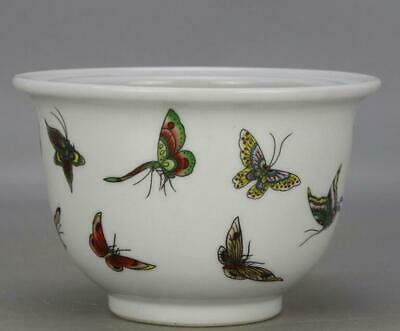 chinese old porcelain hand-painted pastel butterfly pattern flower pot 04445