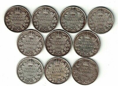 10 X Canada Ten Cent Dimes Edward Sterling Silver Coins 1902 - 1910 Dates Below