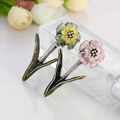 Vintage Enamel Flower Brooches Antique Silver Plated Brooch Pin Lady Gift Party