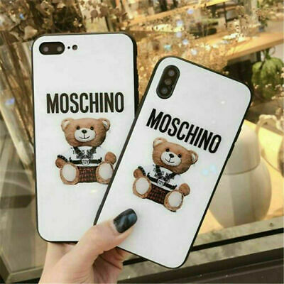 Moschino Bear Phone Case For iPhone 7/8 Plus X XS XR MAX Glass Protective Cover