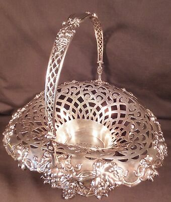 LG. GORGEOUS DURGIN / SPAULDING CO. STERLING BRIDE'S BASKET RETICULATED w GRAPES