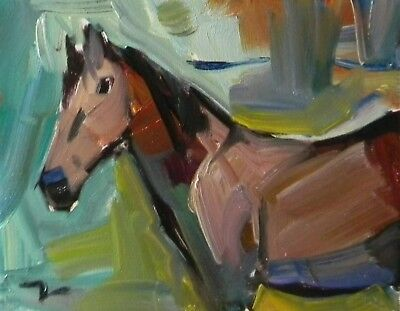 JOSE TRUJILLO - OIL PAINTING MODERN Mountain Horse ABSTRACT COLLECTIBLE WESTERN