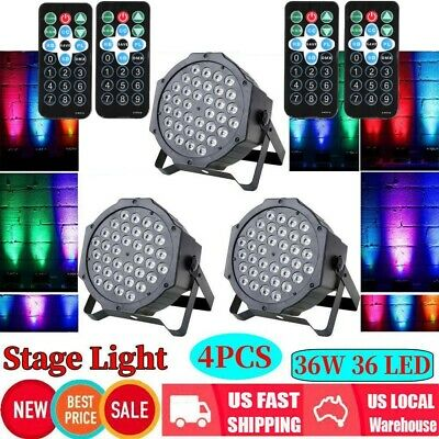4Pcs 36 LED RGB DMX Light PAR CAN DJ Stage Lighting for Wedding Party Uplighting