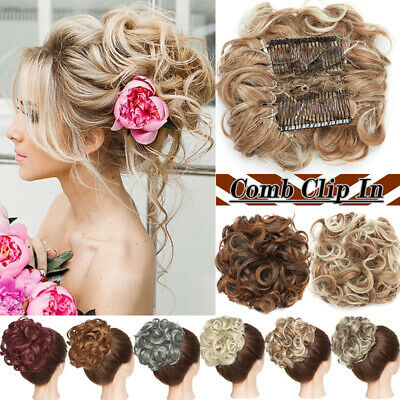 Large Comb Clip on in Messy Bun Hair Piece Extension Natural THICK Wedding Updo