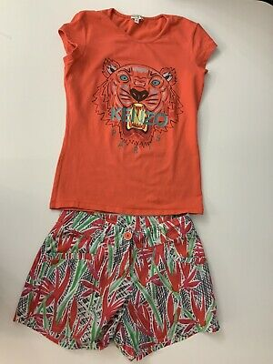 Kenzo Girls Outfit, Set, Shorts & T Shirt, Size Age 14, Tiger Face, VGC
