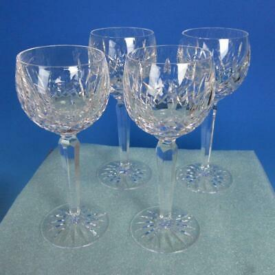 Waterford Crystal  Lismore Pattern - 4 Wine Hocks Goblets Glasses - 7 3/8 inches