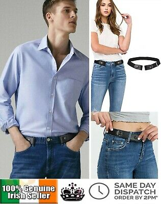 Genuine Invisible No Buckle Free Belt Stretch Elastic Jeans Men Ladies Belts