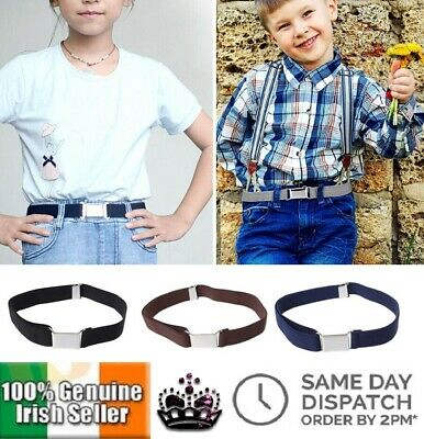 New Childrens Canvas Belt Solid Colour Boys Girls Elastic Kids Unisex Adjustable