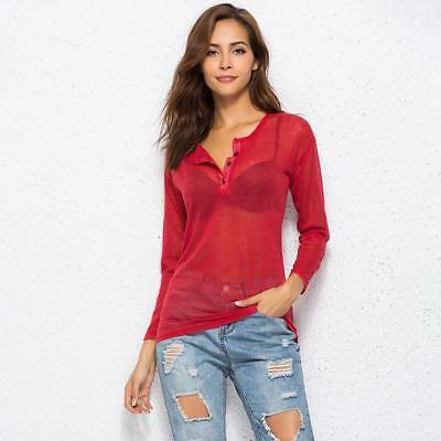Casual Women Lady V-Neck Vest Summer Loose Long Sleeve Tank T-Shirt Top Blouse W