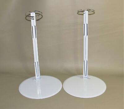 """White Metal Doll Display Stand For 18"""" Dolls Round 10"""" Base - Lot Of 2"""