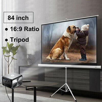 """84"""" 16:9 HD Projector Projection Screen Adjustable Height Tripod Stand"""