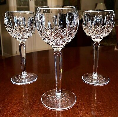 Waterford LISMORE 3 Wine Hocks Goblets Glasses 7 3/8 Inches Made in IRELAND