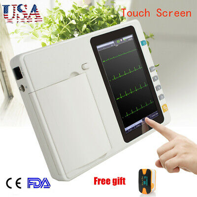 Portable 12-lead 6-channel Electrocardiograph interpretation ECG/EKG  Printer CE