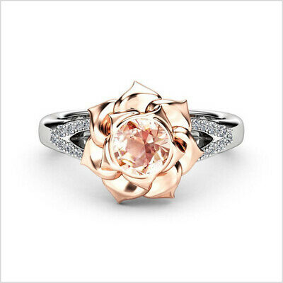 Gorgeous  925 Silver Champagne Topaz Flower Two Tone Ring Womens Wedding Jewelry