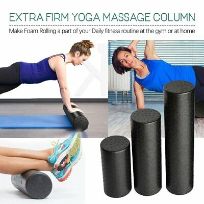 Black Extra Firm High Density Foam Roller Muscle Back Pain Trigger Yoga 9m
