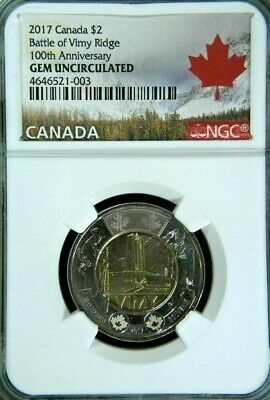 2017 CANADA $2 BATTLE OF VIMY RIDGE 100th ANNIV NGC GEM UNCIRCULATED