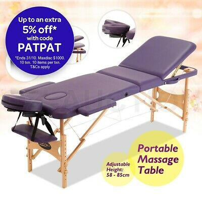 Portable 3 Section Massage Table Chair Bed Foldable with Carry Bag High Density