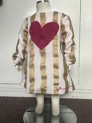 Prada Baby Long Sleeve Stripe Gold Pink Dress 24-36 Months