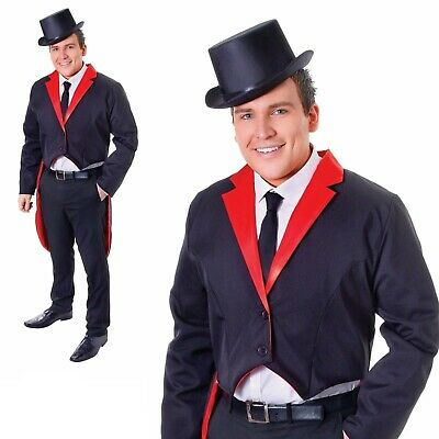 SEQUIN TAILCOAT DANCE COSTUME UNISEX MENS LADIES FANCY DRESS RED SILVER BLACK