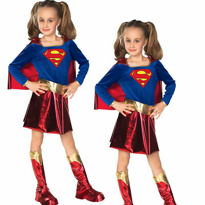 Supergirl Child Deluxe Costume Superhero Girls Fancy Dress Outfit World Book Day