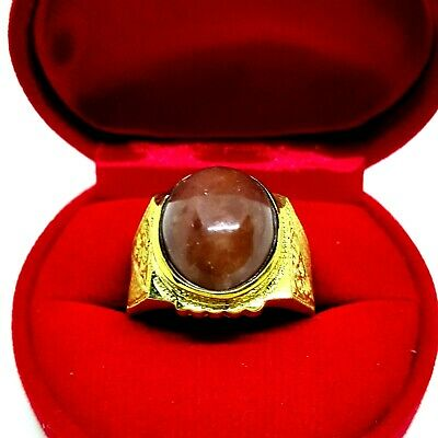 Kaew Witoon Brass Ring honey-color Beautiful Holiness Gem US Size 9 Amulet E26