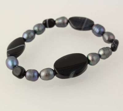 New Beaded Bracelet - Chunky Gray Freshwater Pearls Banded Agate Stretch Band