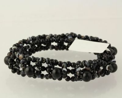 New Beaded Bracelet - Chunky Black & White Banded Agate Stretch Band Women's