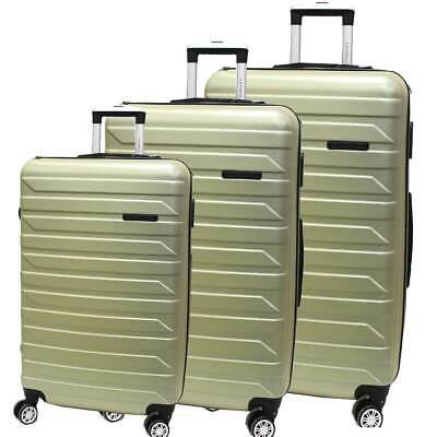ABS trolley set 3 pcs luggage travel bags 8 wheels 8081-3 champagne
