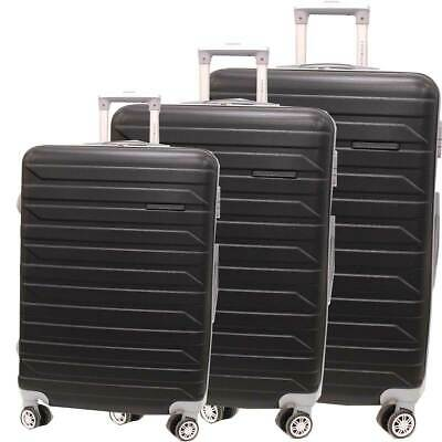 ABS trolley set 3 pcs luggage travel bags 8 wheels 8081-3 black