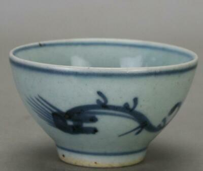 chinese old Blue and white porcelain dragon grain Kung fu cup 0454