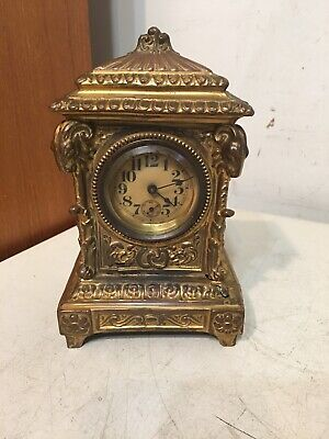Antique Ornate Desk Or Carriage Clock W/ Rams Heads Ansonia Waterbury Era Parts