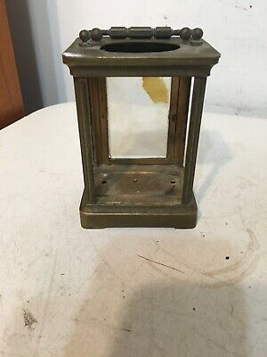 Antique French Brass Carriage Clock Case Missing Glass Miniature Display Case