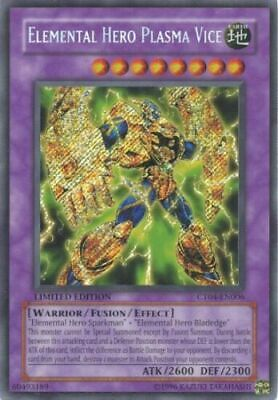 Yugioh Elemental Hero Plasma Vice CT04-EN006 Secret Rare Limited Edition NM