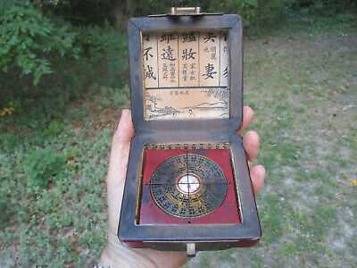 Antique Vintage CHINESE BRONZE FENG SHUI LON PON COMPASS Wood 5-Toed Dragon Box