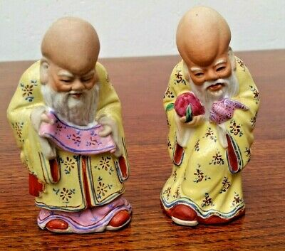Pair of Vintage Porcelain Chinese Buddha Statues for Long Life & Health