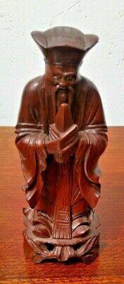 Stunning Vintage Chinese Carved Wood Figure with Inset Eyes