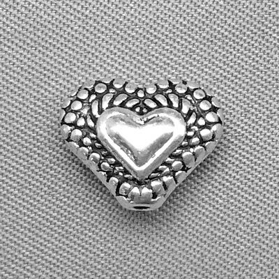 Antique Silver Plated Alloy 11.6x9.6mm Baroque Valentine Heart Love Beads Q20