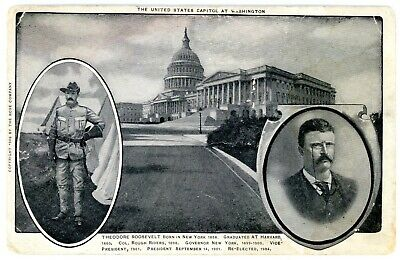 Political -PRESIDENT THEODORE ROOSEVELT & CAPITOL BUILDING- Postcard Rough Rider