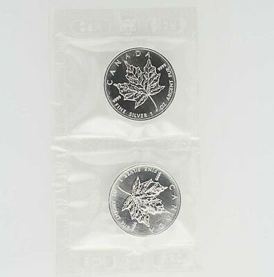1999 Canada Silver Maple Leaf Coin - 1 OZ 9999 Fine silver Lot 2 Elizabeth II