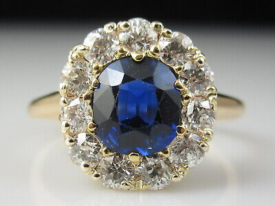 Antique Blue Sapphire Old Mine Diamond Ring 14K Yellow Gold Art Deco Vintage