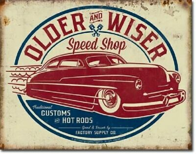 40' Hot Rod Metal Tin Ad Sign Auto Shop Oil Gas Garage Mechanic Picture Gift