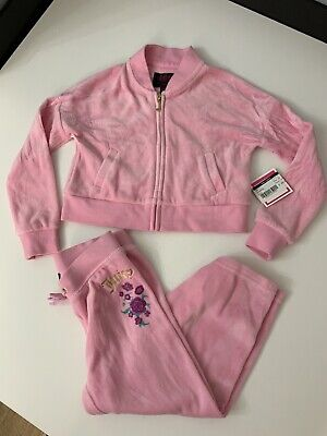Juicy Couture Girls Velour Tracksuit, Size Age 2-3 Years, Black Label, Pink New