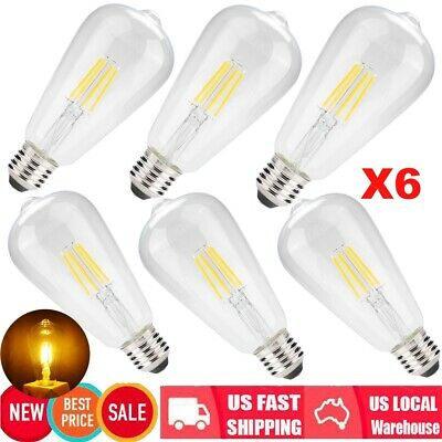 Vintage 6Pcs E26 4W Dimmable LED Clear Glass Filament Bulb Lamp Light 2700K US