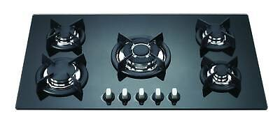 90cm BLACK GLASS 5 BURNER GAS COOKTOP - BRAND-NEW IN BOX - LPG JETS INCLUDED