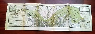 1898 French Color Map Diagram of Amsterdam Port in Noordzee Canal Bruxelles