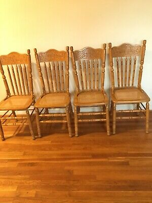 Wintage Wood Chairs With Cane Seating