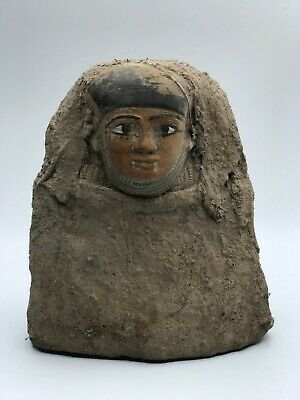 EGYPTIAN ANTIQUES EGYPT STATUE Head Mask PHARAOH Carved STONE BC