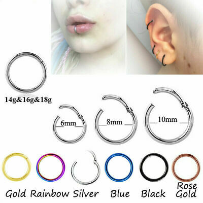 Hinged Piercing Clicker Hoop Earring Ear Ring Tragus Nose Surgical Lip