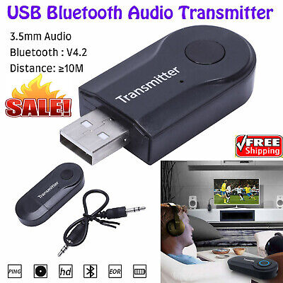 USB Bluetooth Stereo Audio Transmitter 3.5mm Music Dongle Adapter for TV PC Pro
